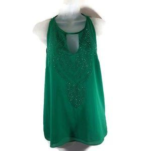 Ark & Co Green Sleeveless Top w Rhinestones